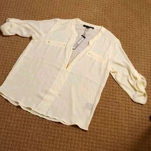 Hervé Benard Cream color shirt Size M